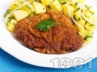 Рецепта Класически виенски шницел от телешки шол паниран в брашно, галета и яйца с картофена гарнитура
